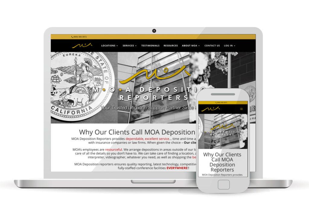 Client Portfolio MOA Deposition Reporters Sacramento | Wordpress Website Design