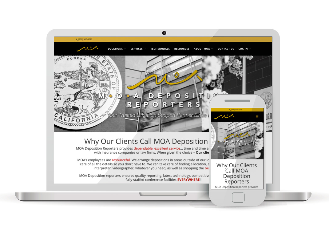 Client Portfolio MOA Deposition Reporters WordPress Website Design