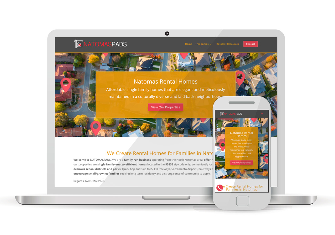 NatomasPads One-page WordPress Website Design Sacramento