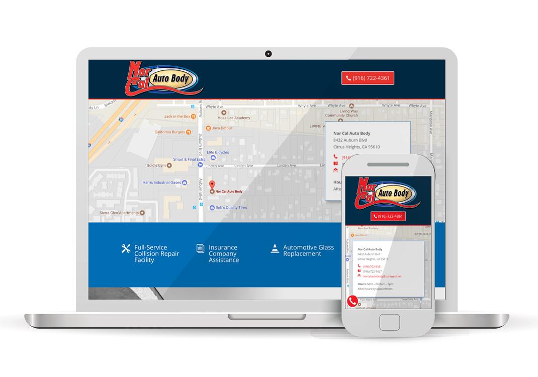 Nor Cal Auto Body WordPress Website Design Sacramento