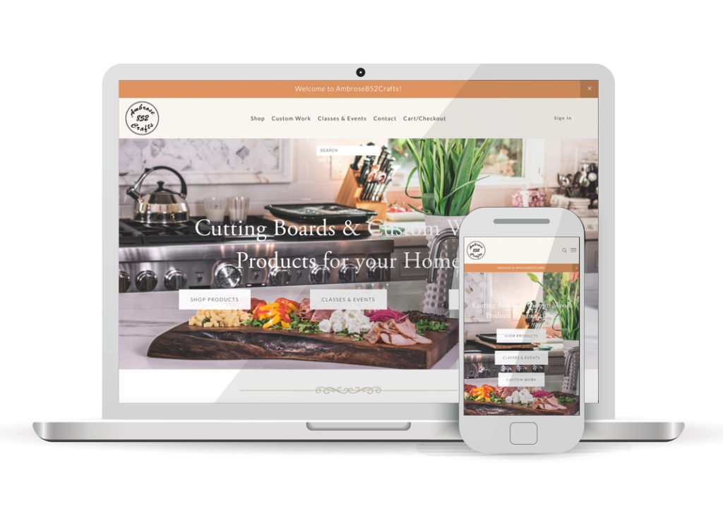 Client Portfolio Ambrose 852 Crafts Sacramento | Squarespace Ecomemrce Website Design