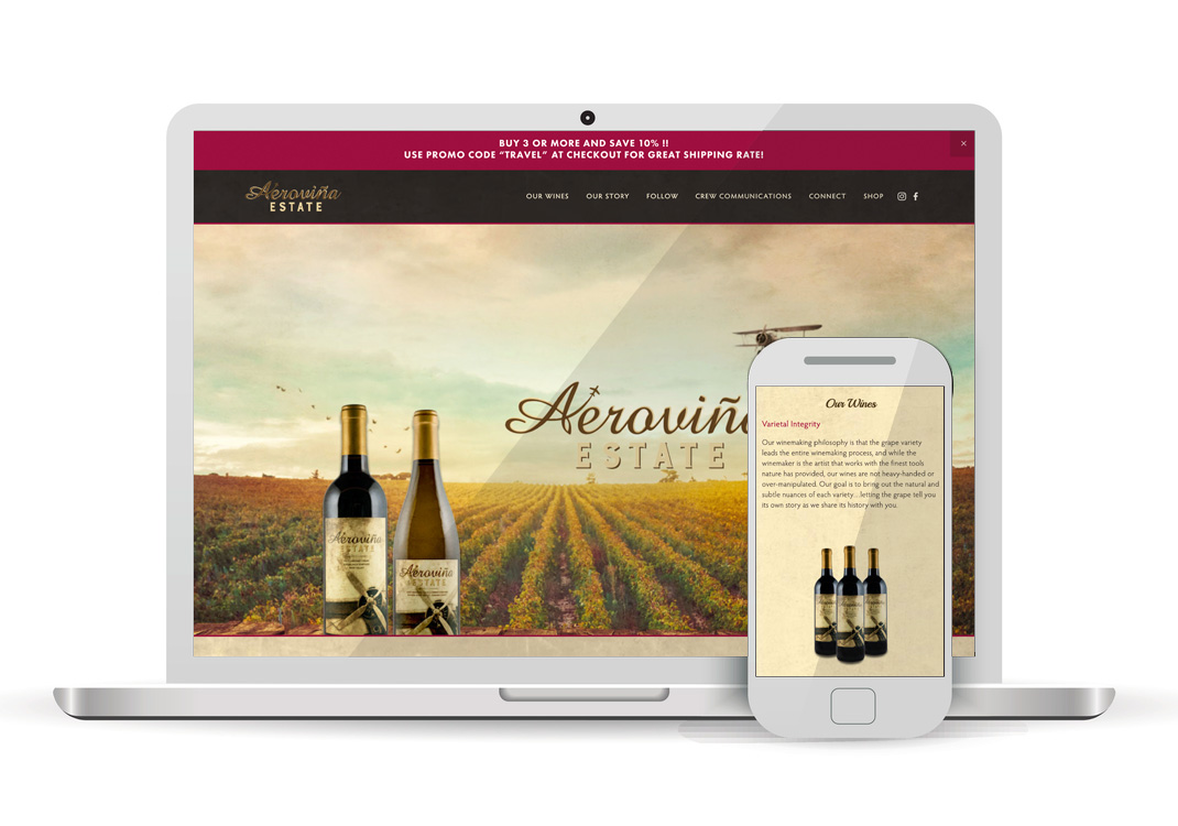 Aerovina Estate Sacramento WordPress Website Design