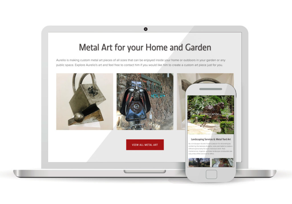 Client Portfolio Aurrelio Metal Art Sculptures Sacramento | Squarespace Website Design