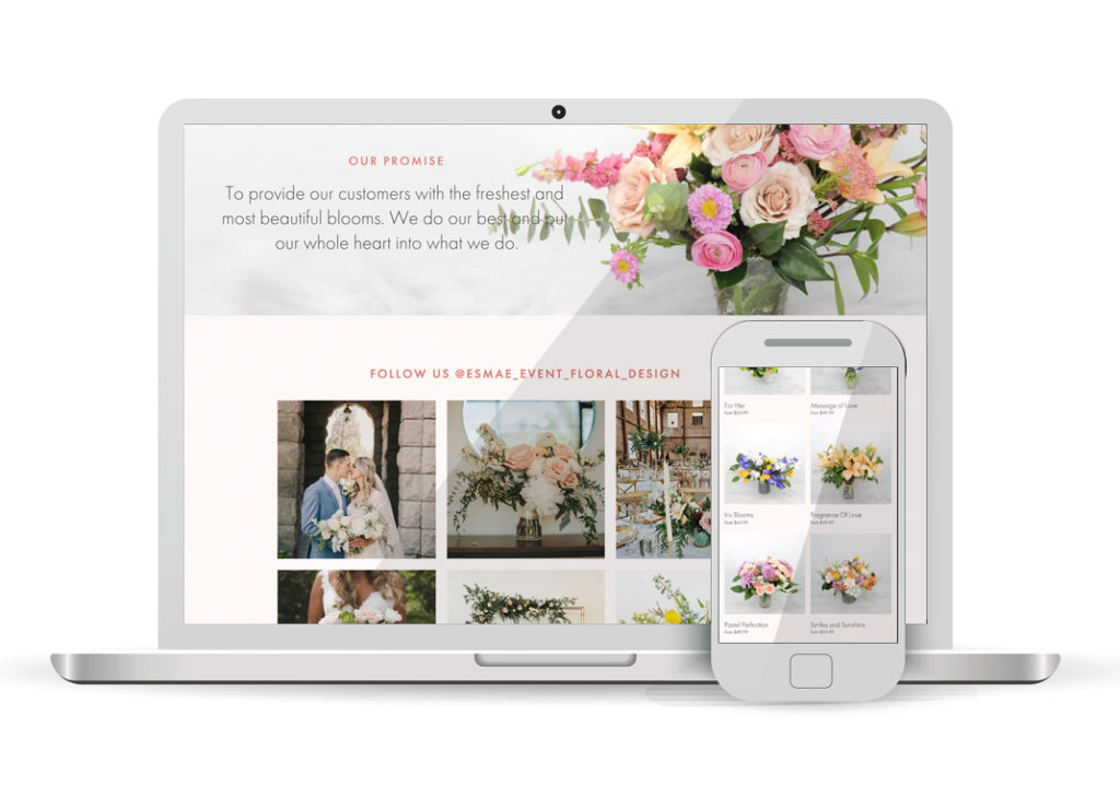 Client Portfolio Esmae Floral Design Antelope | Squarespace Ecommerce Website Design