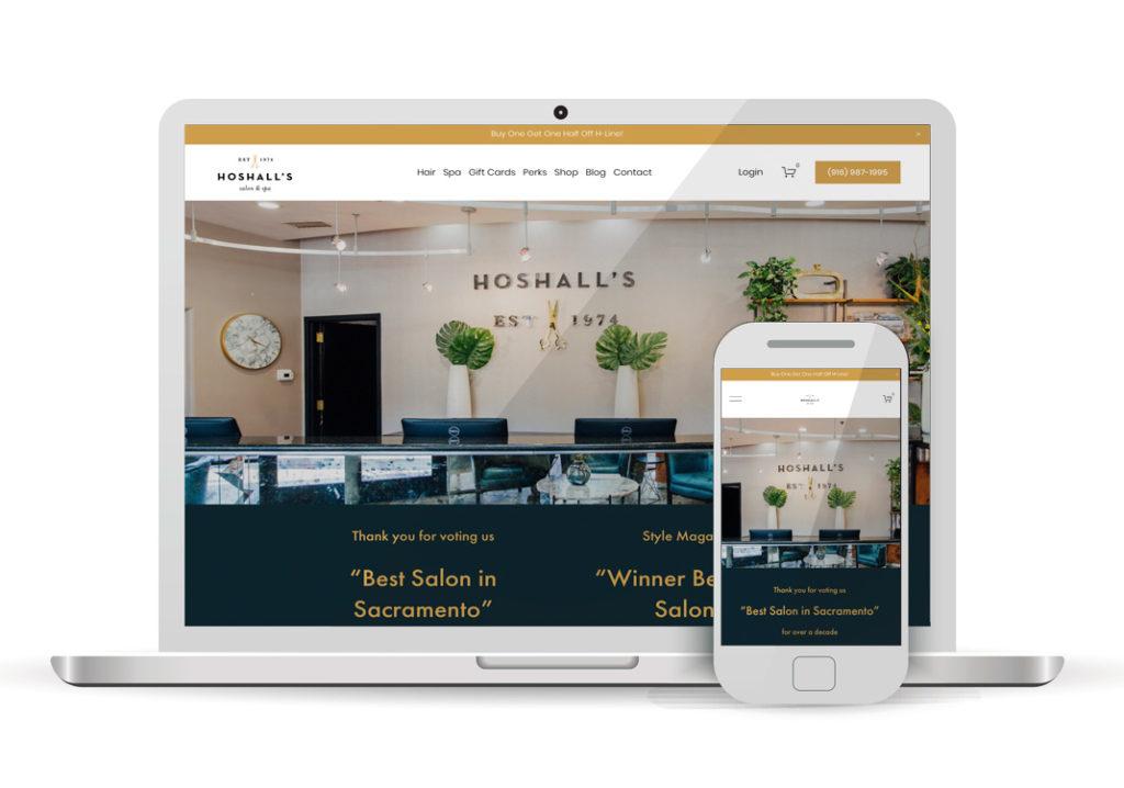 Client Portfolio Hoshall's Salon Spa Folsom | Squarespace Ecommerce Website Design