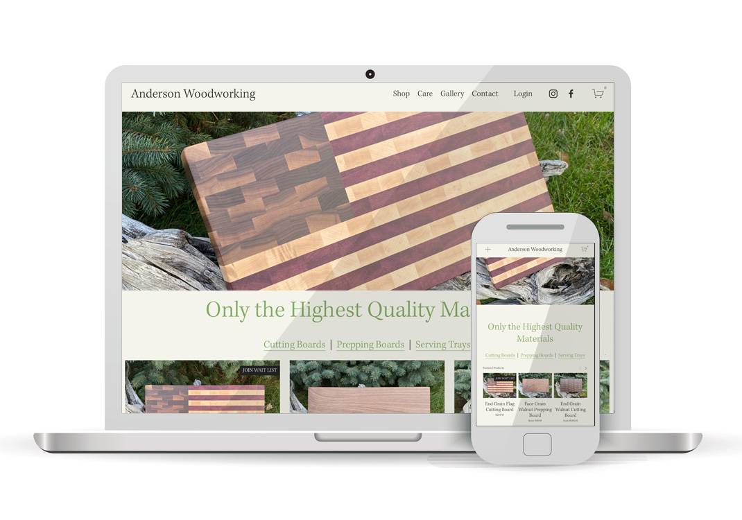 Anderson Woodworking Ecommerce Squarespace Website Design