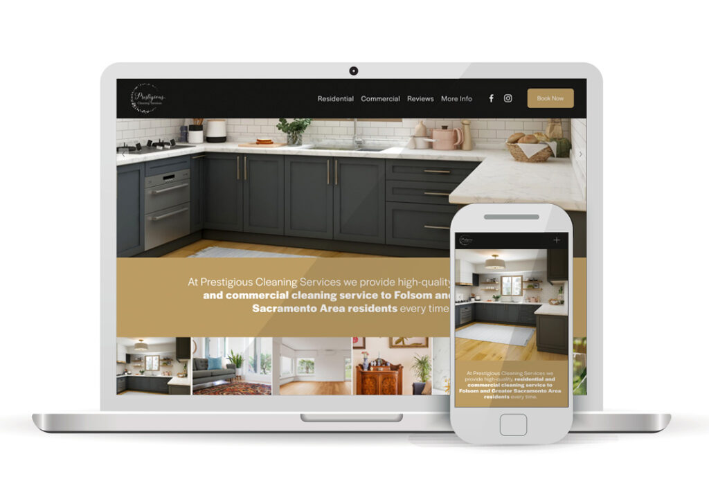 Client Portfolio Prestigeous Cleaning Services Sacramento | Squarespace Ecommerce Website Design